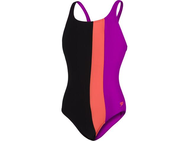 speedo Colourblock Powerback Swimsuit Girls, black/diva/volcanic orange